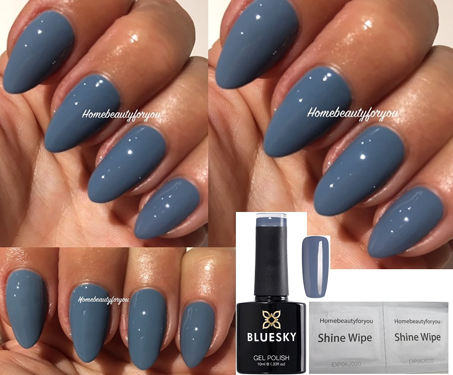 Bluesky 63927 Autumn Winter Blue Grey Nail Gel Polish UV LED Soak Off PLUS 2 HOMEBEAUTYFORYOU Shine Wipes LTD