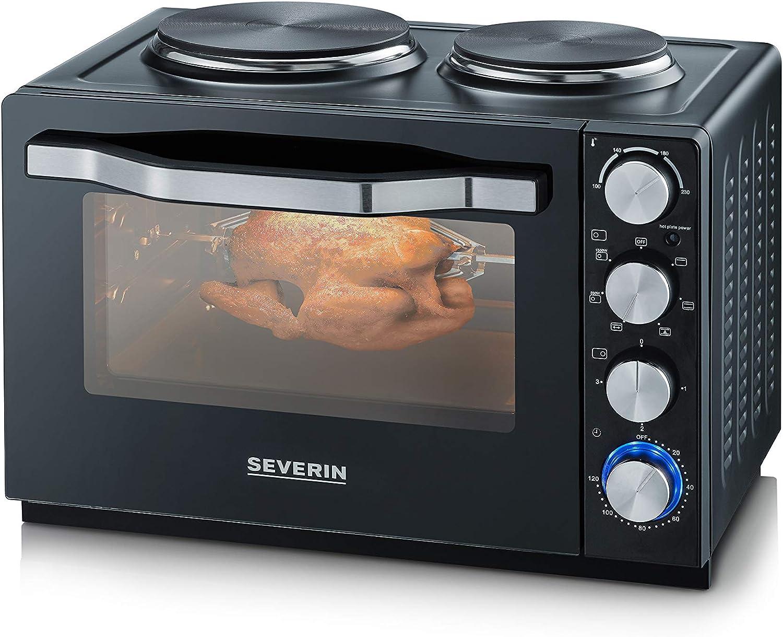 Severin TO 2065 - Horno con placas de cocción, 2500 W, acero inoxidable, 30 L, color negro