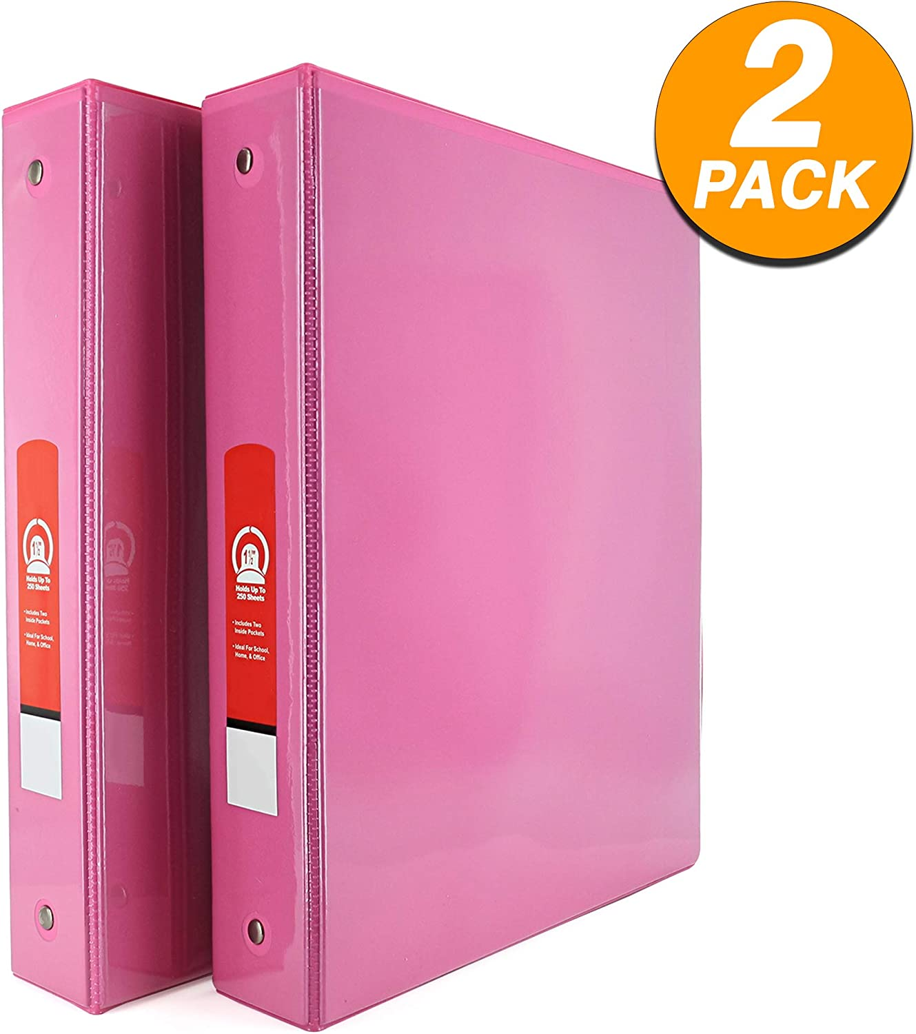 """Emraw Super Great 1 1/2"""" 3-Ring View Binder with 2-Pockets - Available in Fuschia - Great for School, Home, Office (2-Pack)"""