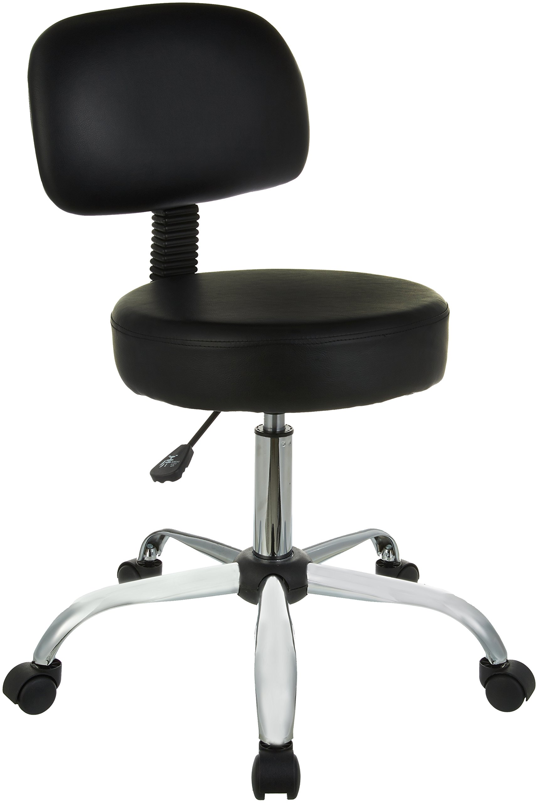 AmazonBasics Drafting Stool with Back Cushion - Black