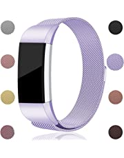 Maledan Bands for Fitbit Charge 2, Stainless Steel Milanese Loop Metal Replacement Accessories Bracelet Strap with Unique Magnet Lock for Fitbit Charge 2