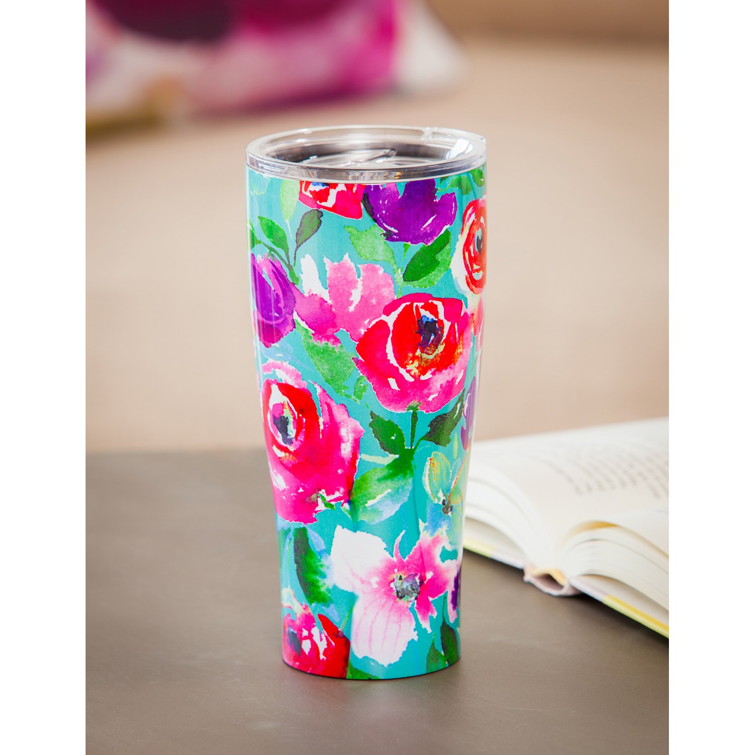 Cypress Home Boho Floral Party Stainless Steel Hot Beverage Travel Cup, 17 ounces by Cypress Home (Image #3)