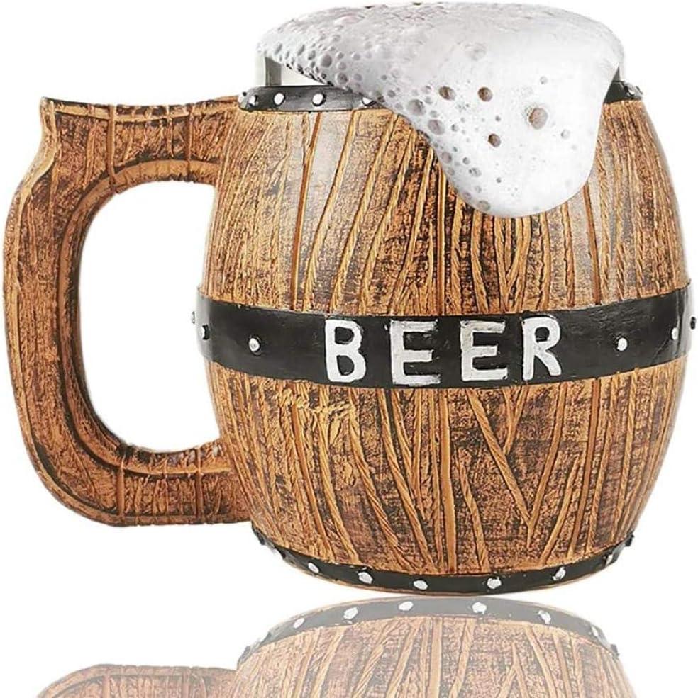 HUIQ® Taza de Cerveza de Acero Inoxidable con asa 20 oz / 580 ml Barril de Madera de simulación Taza de Cerveza de Doble Capa Taza para Beber Taza para Vasos Taza Personalizada para Whisky/Cerveza