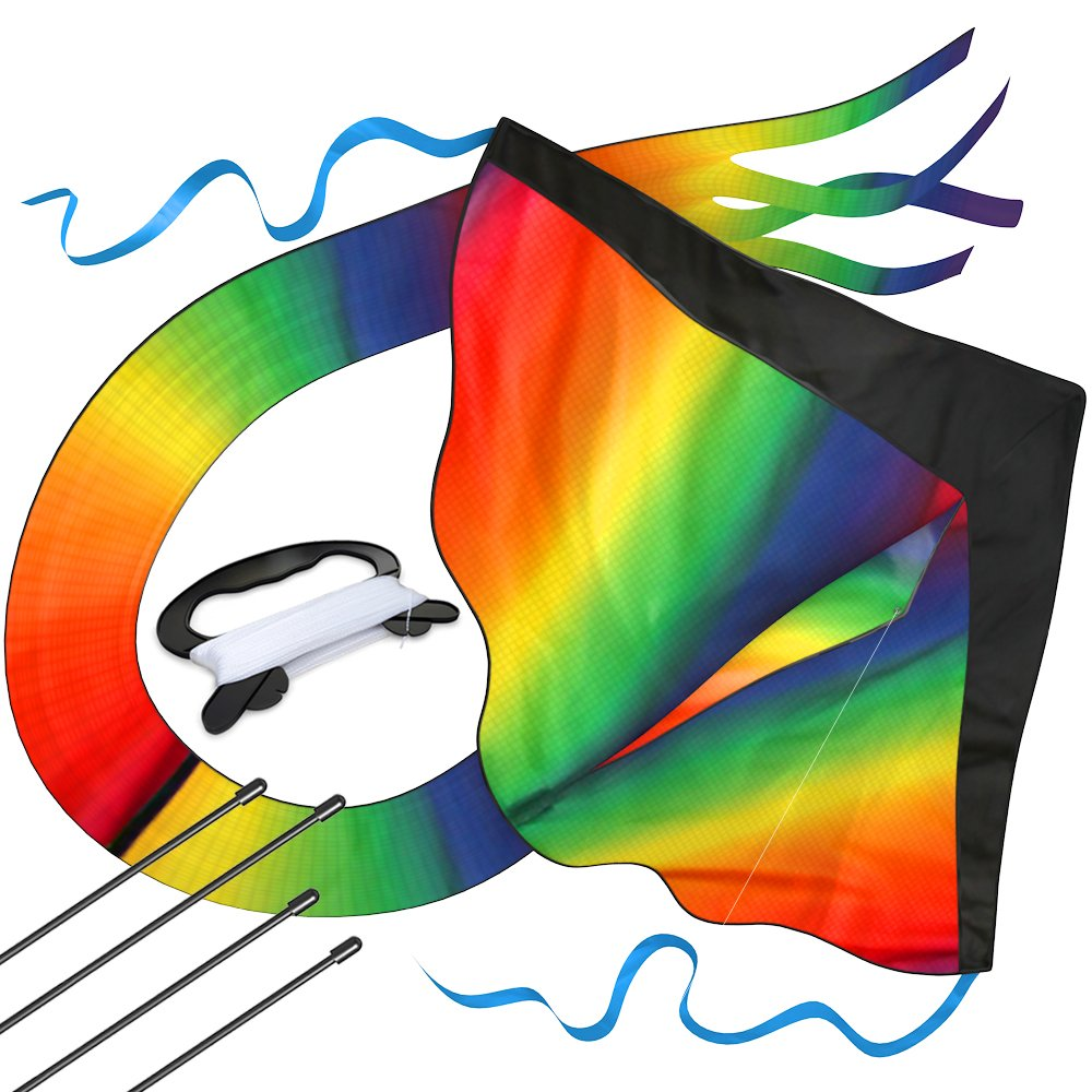 aGreatLife Huge Rainbow Kite For Kids - One Of The Toys For Outdoor Games and Activities - Good Plan For Memorable Summer Fun - This Magic Kit Comes w by aGreatLife