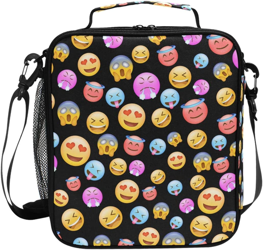 ZOEO Girls Emoji Lunch Box Prep Kids Insulated Lunch Bag Cooler Black Tote Freezable Shoulder Strap Waterproof Picnic Meal for School Office for Men Women