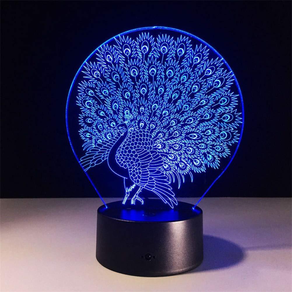 Blautooth Speakers Fujunping Pfau 7 Farbe 3D licht Touch Desktop lampen acryl nachtlicht USB led 3D Lampe geben Kinder Geschenke und Spielzeug,Blautooth-Lautsprecher