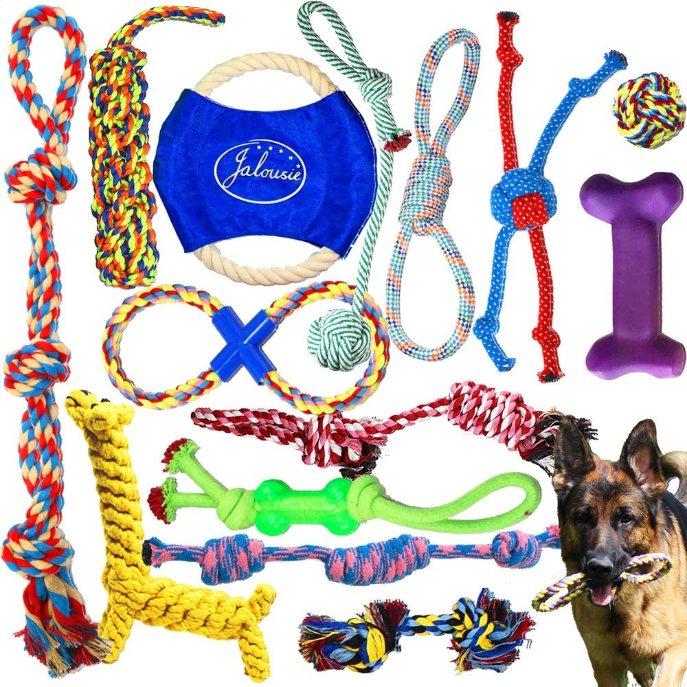 Jalousie Dog Rope Toys Dog Toy Assortment Puppy Chew Dog Rope Toy Nearly Indestructible Rope Toy Assortment for Medium Large Breeds
