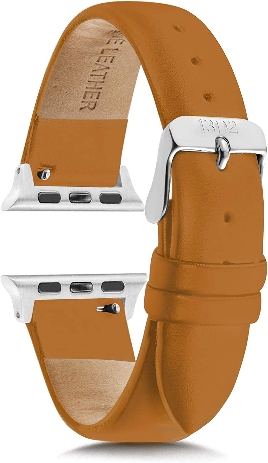 Compatible with Apple Watch Bands 38mm Women - Apple Watch Bands Women - Apple Watch Band 40mm Series 4 - Apple Watch Band Leather, Leather Apple Watch Band, Silver Apple Watch Band, Tan