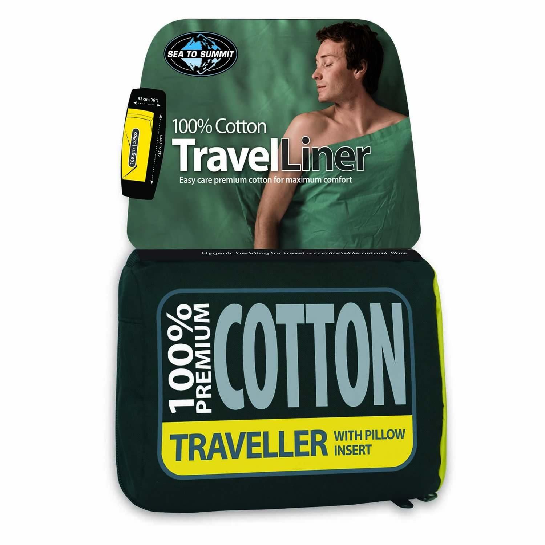 Sea to algodón Summit Forro de Viaje de algodón to Premium – Viajero (con Funda de Almohada) Eucalipto Verde 41ee2f