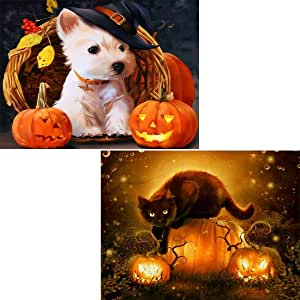 2 Pack 5D Diamond Painting Full Drill Halloween Pumpkin Dog & Cat by Number Kits, Puppy and Kitten DIY Embroidery Rhinestone Paint with Diamonds Art Pet Wall Decor 30x40 cm (12x16 inch)