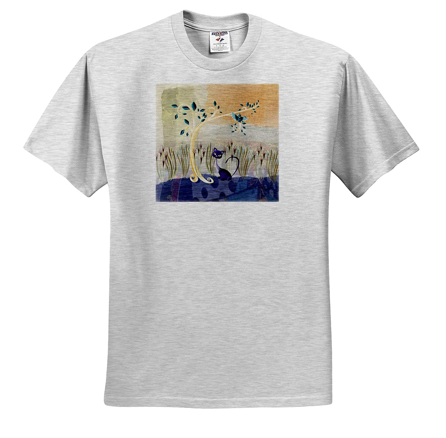 Purple Cat Under Tree with Aqua Blue Bird on Branch T-Shirts 3dRose Beverly Turner Designs Pretty Flower