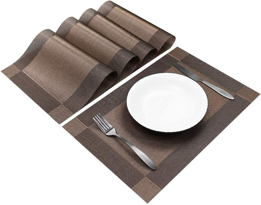 Sweet Elegance [Set of 4] Woven Texture Placemat Table Mat Durable Washable Reusable Heat Resistant and Stain Resistant PVC Placemats for Kitchen Restaurant Dining Table (Deep Brown)
