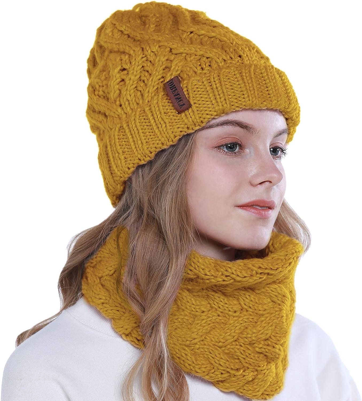 vamei 2 Pezzi Cappello invernale da donna Berretto Invernale Cappelli Donne Sciarpa e Berretti in Maglia Beanie Cappellini Berretto da Sci Berretto Unisex