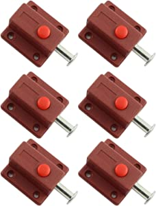 Youliang 6pcs Spring Loaded Press Button ABS Plastic Bolt Sliding Lock Barrel Bolt Security Latch for Door, Cabinet, Furniture Hardware Accessories