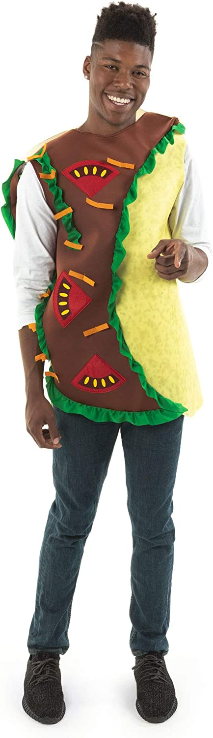 Spicy Taco Halloween Costume - Mexican Funny Food Adult Tortilla Burrito Outfit Yellow