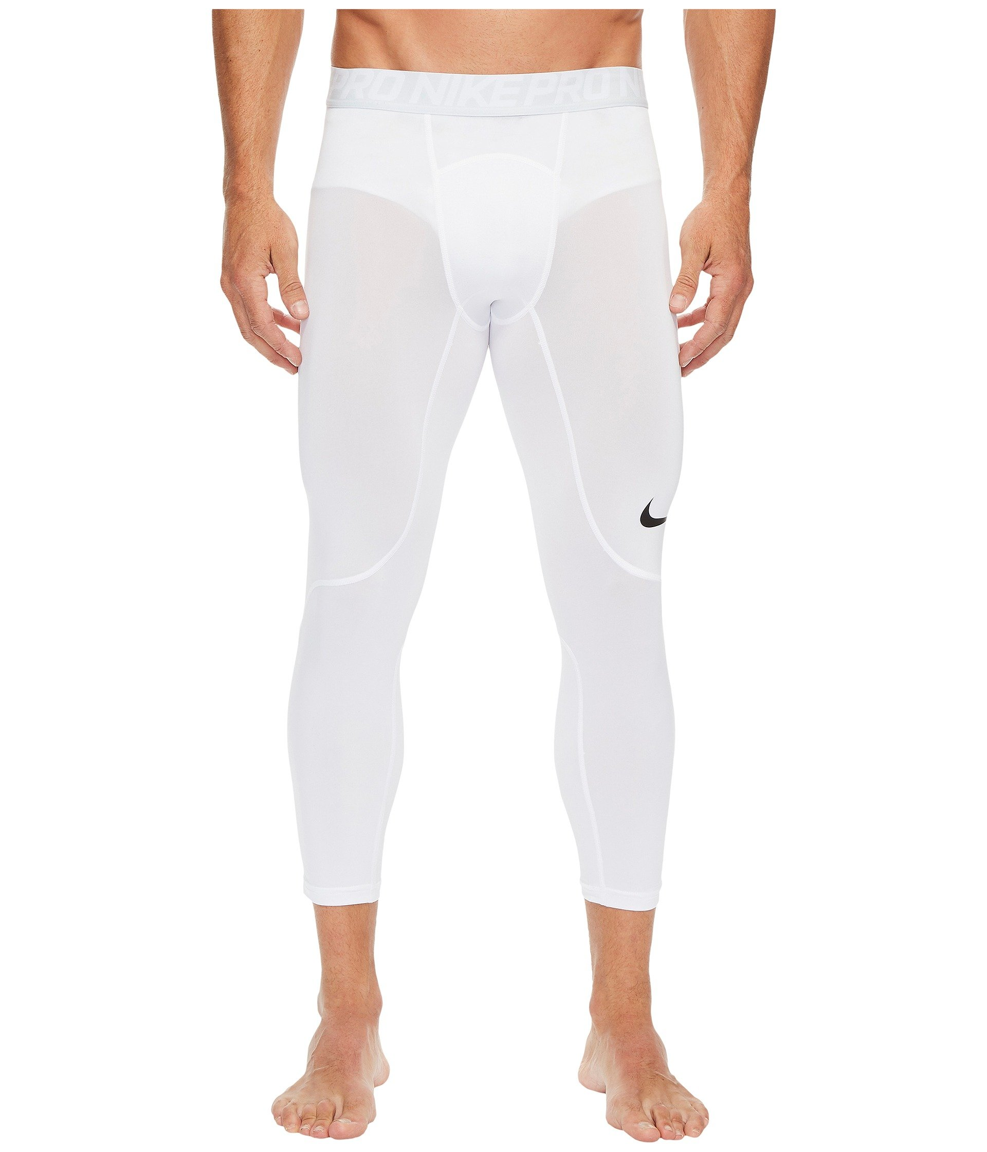 Nike Men's Pro Tights White/Pure Platinum/Black Size Small by Nike