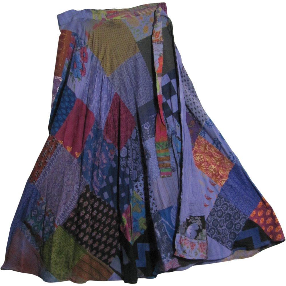Yoga Trendz Missy Plus Vintage Ethnic Bohemian Cotton Patchwork Wrap Around Maxi Long Skirt (Purple Tones)