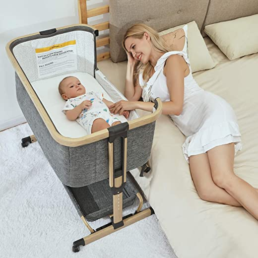 2 in 1 Baby Bassinet, AMKE Bedside Crib with Height Adjustment, Portable & Moveable Bedside Sleeper with Lockable Wheels, Compact Baby Bed for Infant