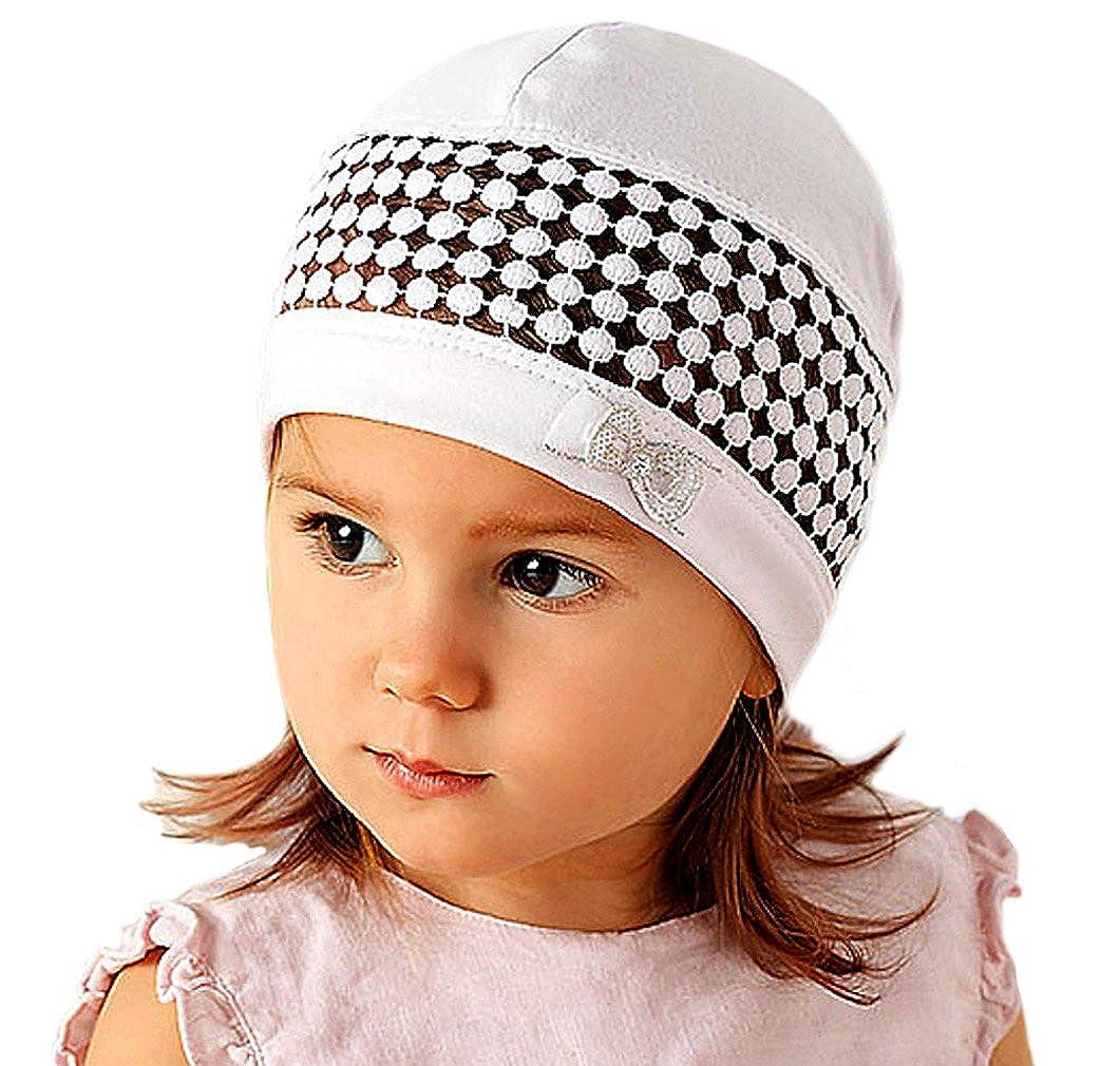 AJS Baby Mädchen Mütze Kindermütze mit Baumwolle Frühling Sommer Taufe weiß rosa