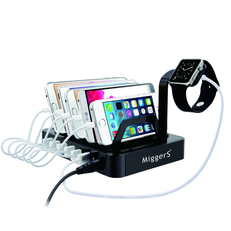 Miggers Smart 6-Port Hub USB Fast Charging Station and