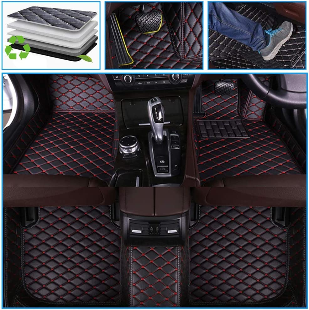 Muchkey car Floor Mats fit for Lincoln MKX 2010-2013 Full Coverage All Weather Protection Non-Slip Leather Floor Liners Black-Red