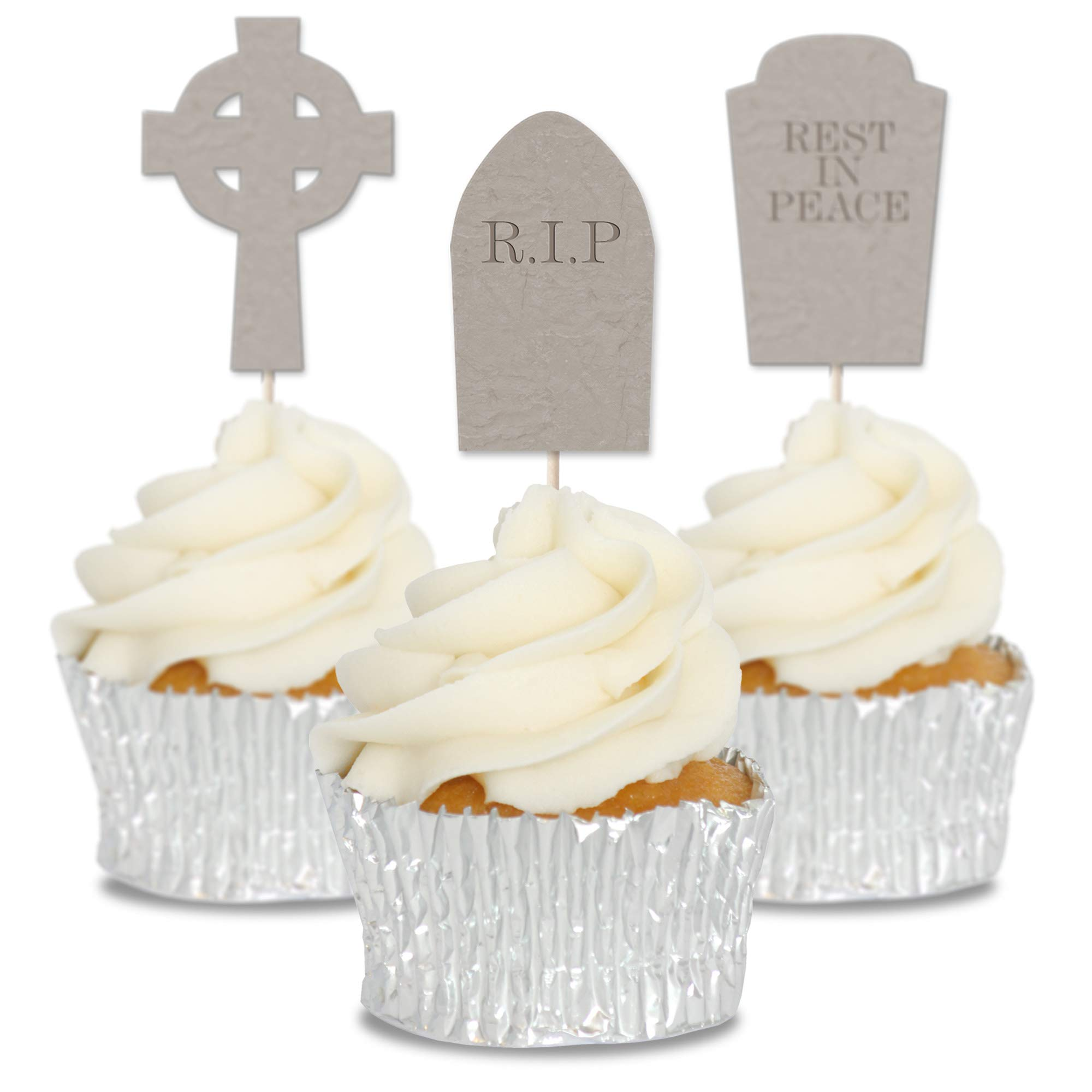 Gravestones Halloween Cupcake Toppers 12/pk Picks, Cake Decorations
