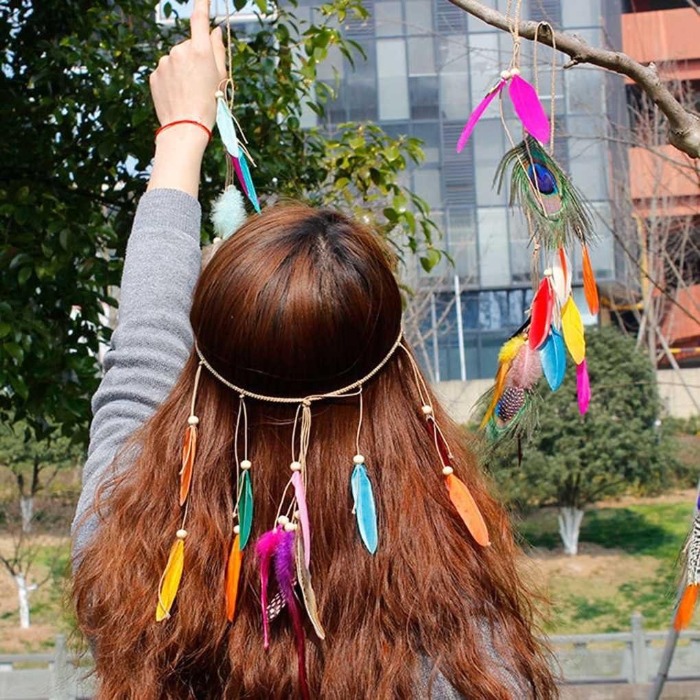 Aiming Las Mujeres de la India de la Pluma del Estilo Tribal de Bohemia Headwear Chica Facinator Borla del Tocado de Celada de Hairband