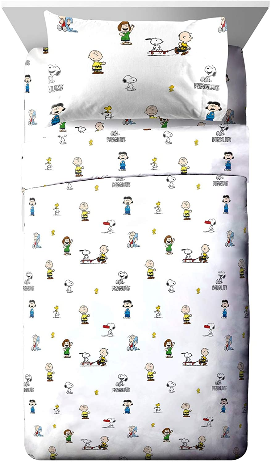 Jay Franco Peanuts Best Friends Twin Sheet Set - 3 Piece Set Super Soft and Cozy Kid's Bedding Features Snoopy & Charlie Brown - Fade Resistant Microfiber Sheets (Official Peanuts Product)