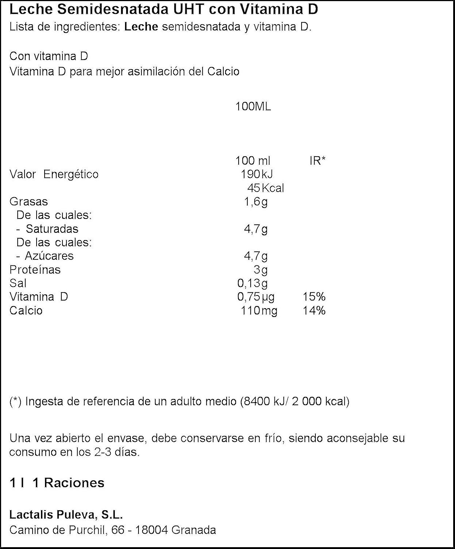 Lauki - Leche Semidesnatada con Vitamina D - 1 L -, Pack de 6: Amazon.es: Alimentación y bebidas