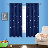 Romantic Starry Sky Blackout Curtains - NICETOWN Space Inspired Night Sky Twinkle Star Kid's Room Draperies, Creative Blackout Window Drapes for Bedroom (Two Panels, 52 x 63 inch Panel, Navy Blue)