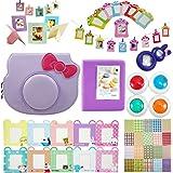 Katia paquetes de accesorios de la cámara instantánea Instax Mini Hello Kitty Set (caja de la cámara / Buchalbum / Cerrar lente selfie / filtro / marco de la foto / decoración de la etiqueta engomada Límites / decoración de la pared pared capítulo) - púrpura