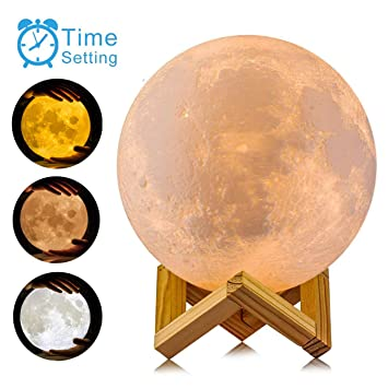 AED Moon Lamp with Stand, Slap & Touch & Remote Control, Three Colors,  Dimmable, USB