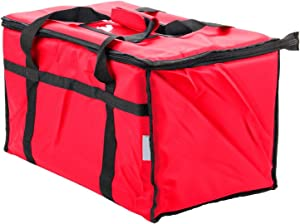 Nylon Insulated Pizza Delivery Bag - Food Delivery Bag Pan Carrier (Red)
