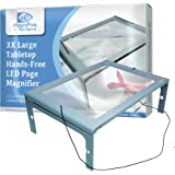 3X Large Full Page Magnifier with 12 LED Lights[Provide Evenly Lit Viewing Area], Foldable Flip-Out Legs, Dual Power…