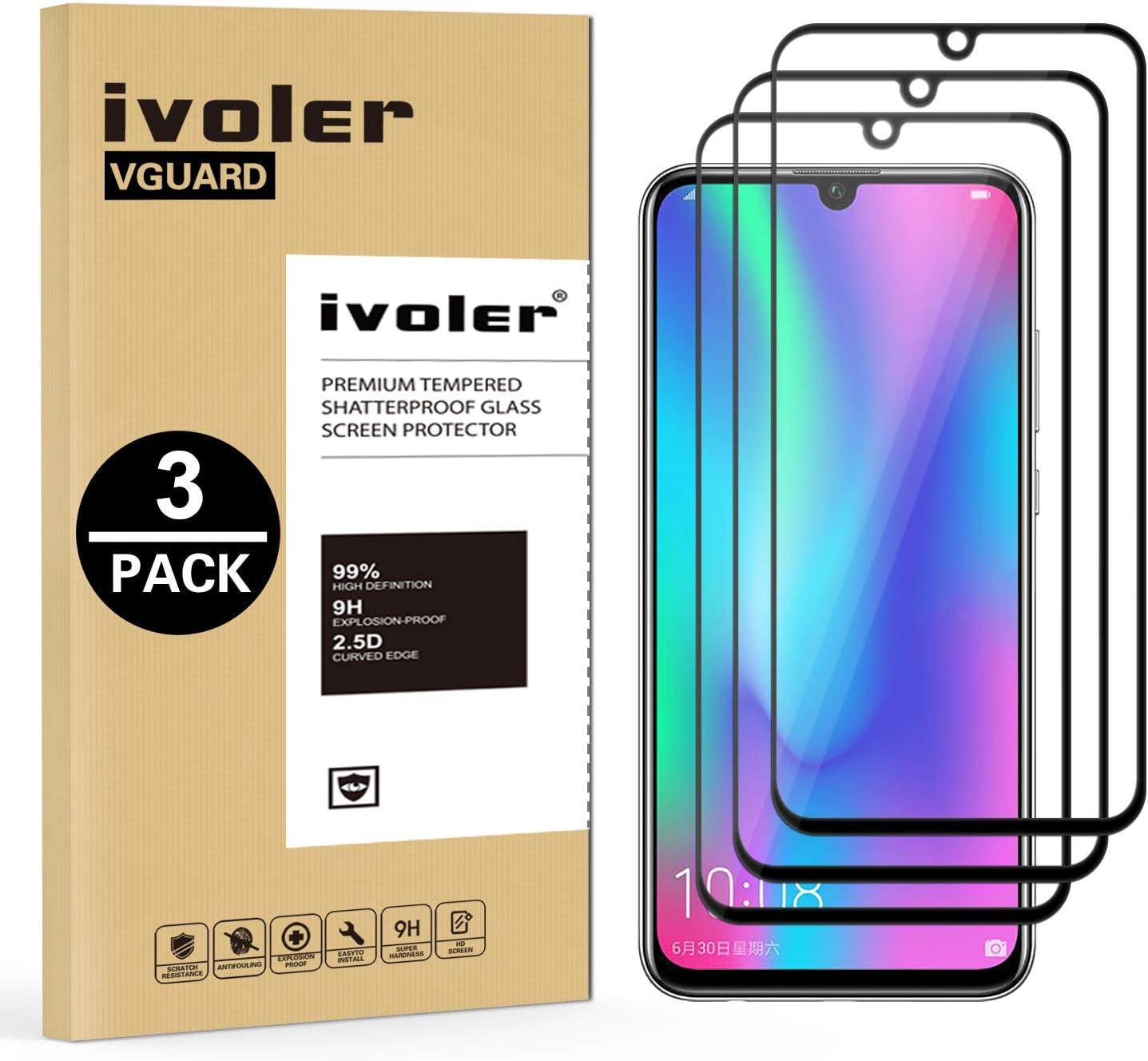 VGUARD 3 Unidades Protector de Pantalla para Honor 20e / Honor 20 Lite/Honor 10 Lite/Huawei P Smart Plus 2019 / Huawei P Smart 2019/2020, [Cobertura Completa] Cristal Vidrio Templado Premium