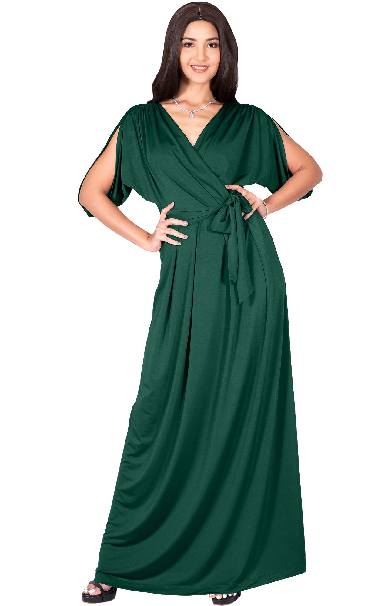 Koh Koh Plus Size Womens Long Semi-Formal Short Sleeve V -9094