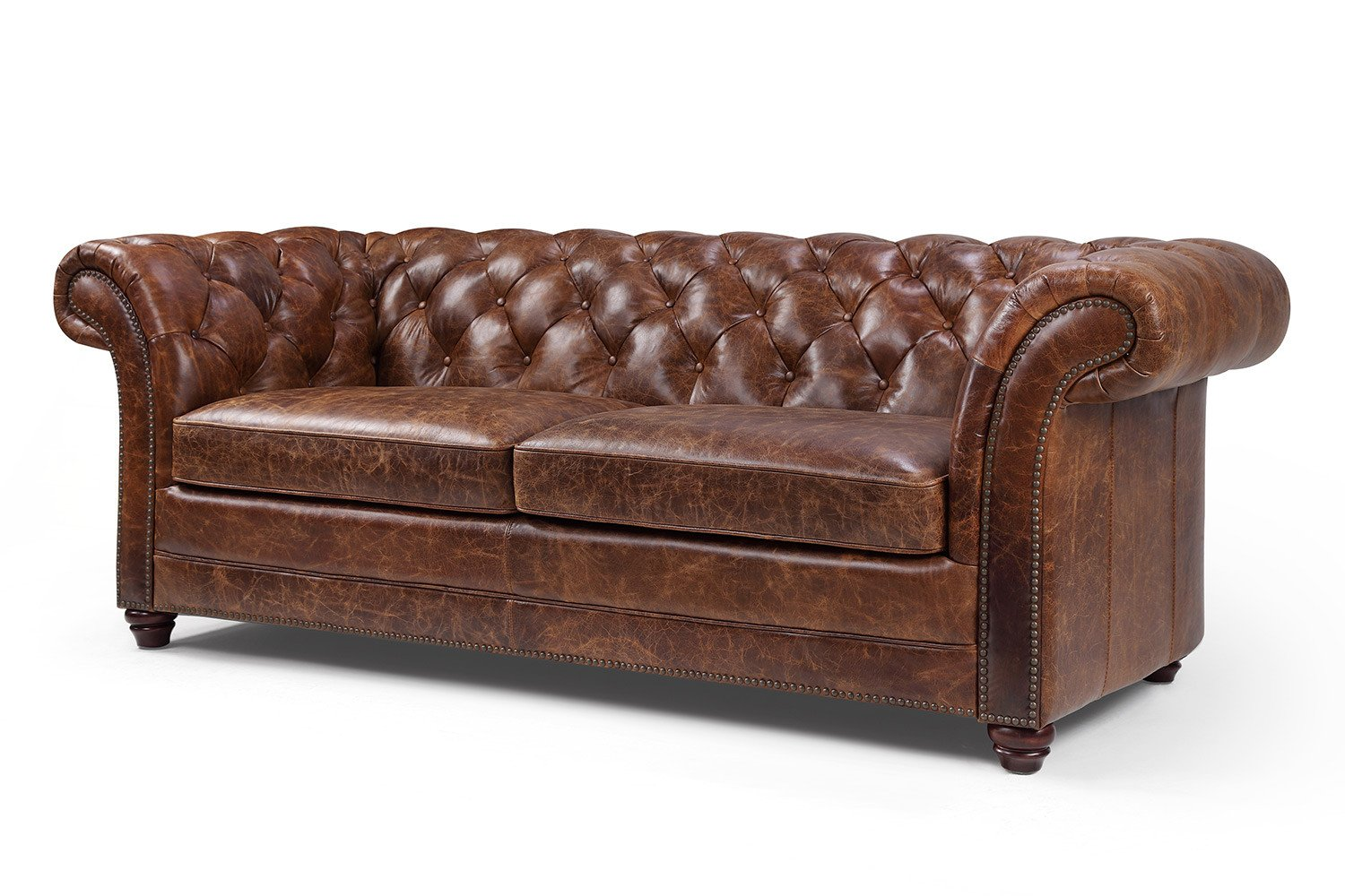 Amazon.com: Westminster Chesterfield Leather Sofa By Rose U0026 Moore: Kitchen  U0026 Dining