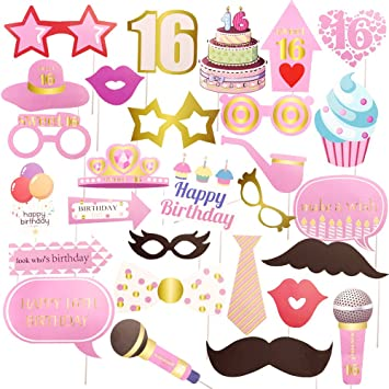 Amazoncom Goer 16th Birthday Party Supplies30 Pcs Photo Booth