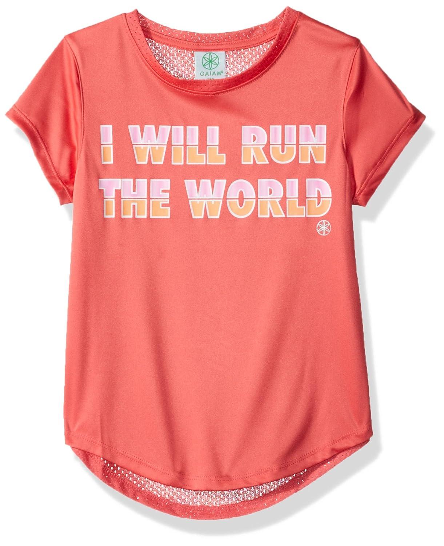 Gaiam Girls' Big Lotus Chibori Graphic Tee Shirt with Mesh Back