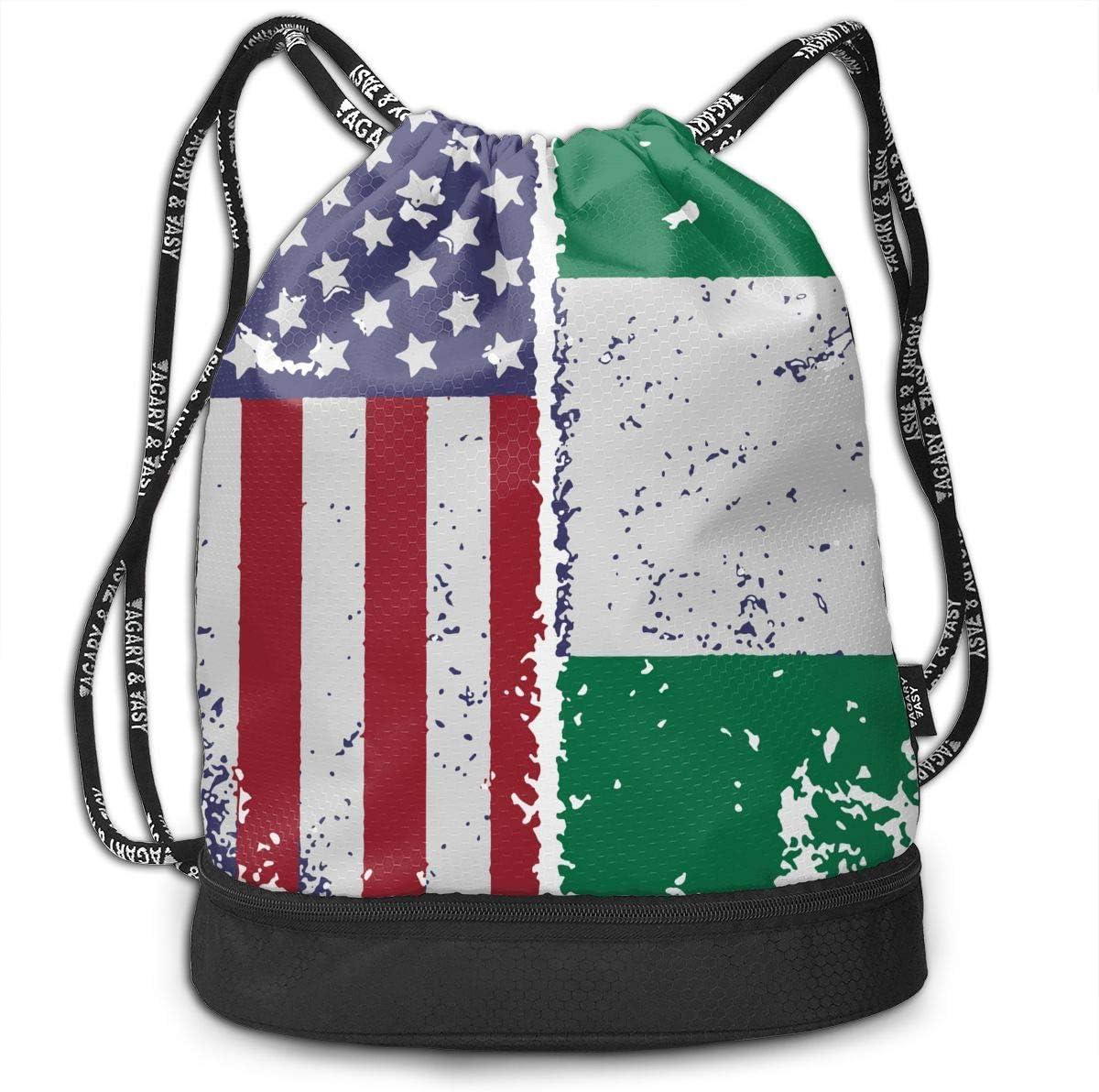Drawstring Backpack Nigerian American Flag Bags
