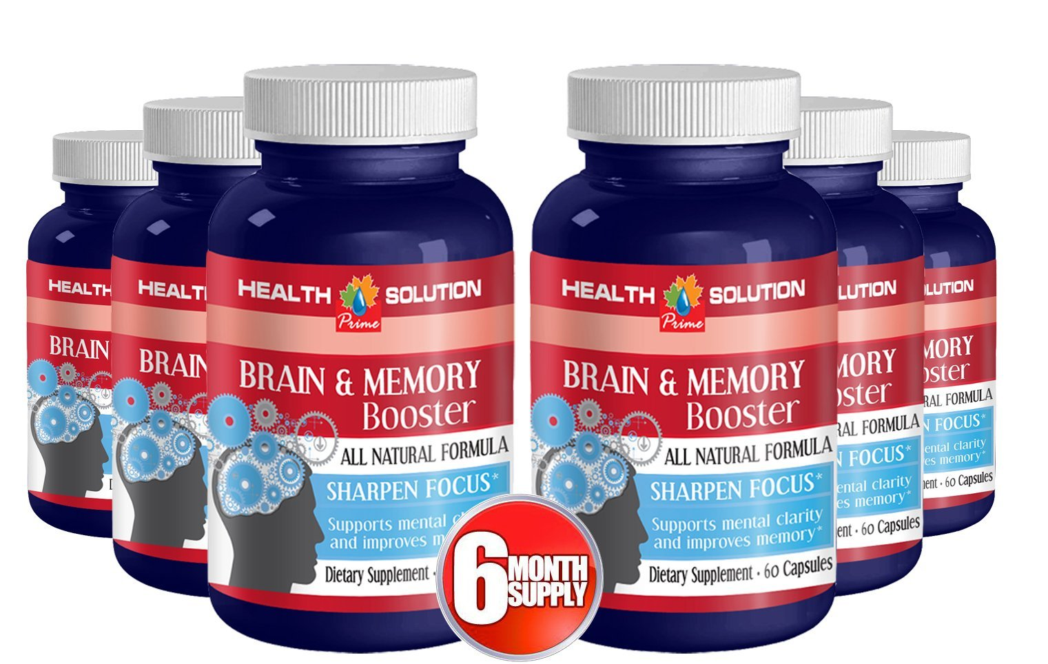 Saint john wort - BRAIN AND MEMORY BOOSTER - improve concentration (6 bottles) by Health Solution Prime