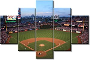 """Wall Pictures for Living Room - 5 Panel MLB Baseball Team Modern Home Decor Philadelphia Phillies Ballpark Canvas Wall Art Paintings - Wall Decor for Room Stretched and Framed Ready to Hang(60""""Wx40""""H)"""