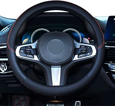 Black Black Genuine Leather Auto Car Steering Wheel Cover Universal 15 inch Universal for Car Truck Fit Snug Cool car automotive