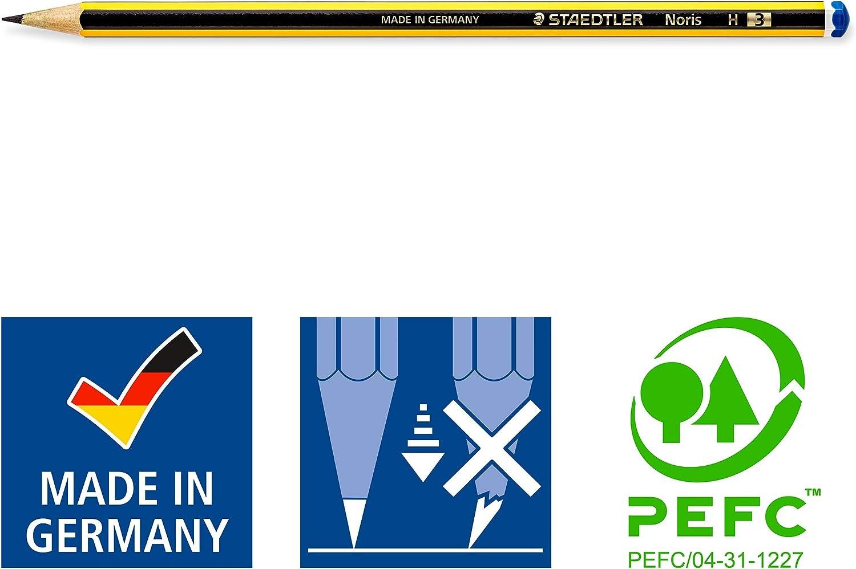 Pack of 10 STAEDTLER 120S1BK10D Noris Pencils HB with Sharpener and Eraser