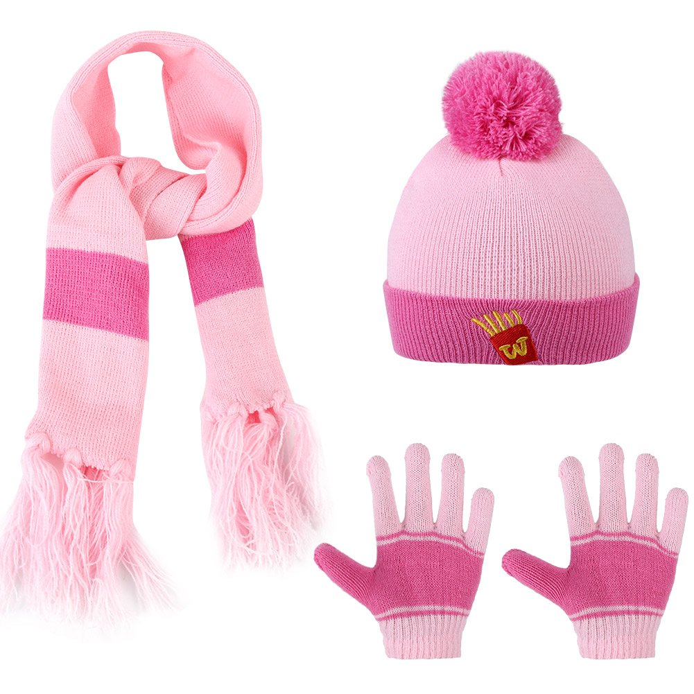 Scarf VBIGER Kids 3-Pieces Knit Hat Gloves Set Winter Warm Set for Boys Girls