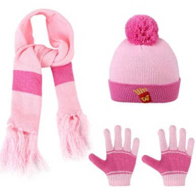 955f5b1393a Vbiger Boys Girls Hat Scarf and Gloves Set (Pink)  Amazon.co.uk  Clothing