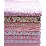 KING DO WAY Lot De 8 Pcs 50cmX50cm Tissu Coton Couture Artisanat DIY Fabric Sewing Floral-Rose