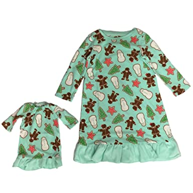 c51f548152 Jammies Toddler Girls Green Fleece Gingerbread Man Nightgown   Baby Doll  Gown Set 2T