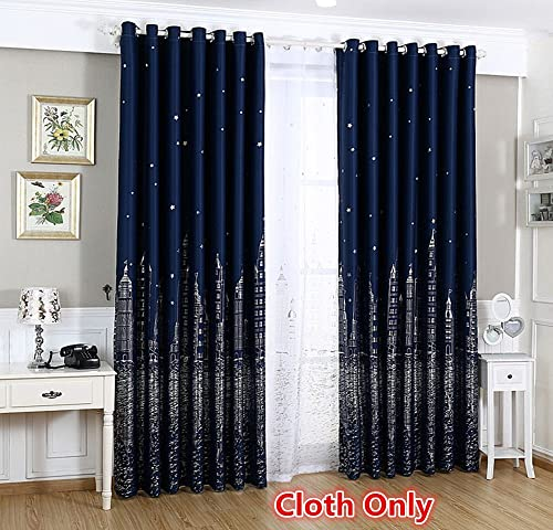 WPKIRA Window Treatment Printed Silver Stars and Castle Pattern Grommet or Eyelet Top Room Darkening Thermal Insulated Blackout Curtains Panel Drapes for Boy s Bedroom, 1 Panel Navy W75 x L96 inch