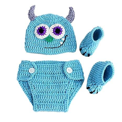 Recién nacido Baby fotografía Requisiten Ropa Ropa nette Cowboy Crochet gorro de lana Monster Pantalones con
